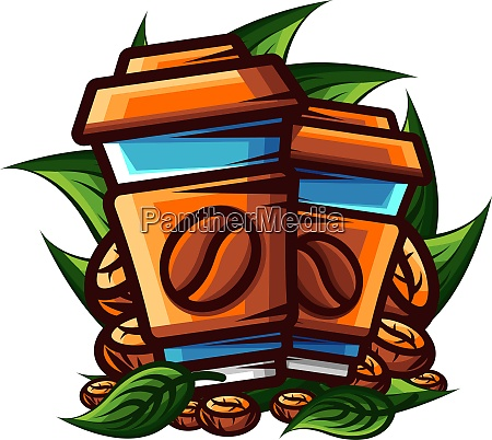 vector coffee in sharp outline style