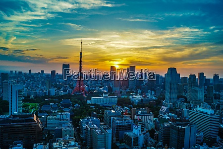 tokyo tower and tokyo skyline that