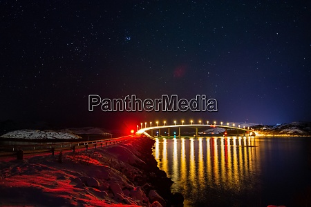 night view of bridge to sommaroy