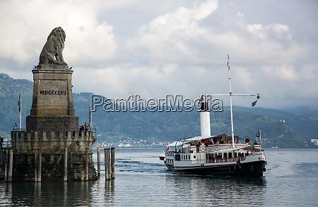 port entrance to lindau harbour bavaria
