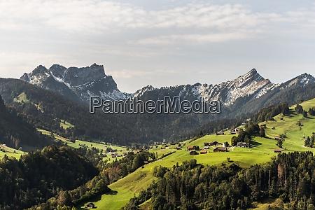 mountanous landscape in toggenburg nesslau canton