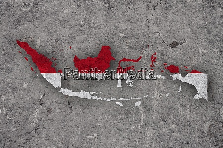 map and flag of indonesia on