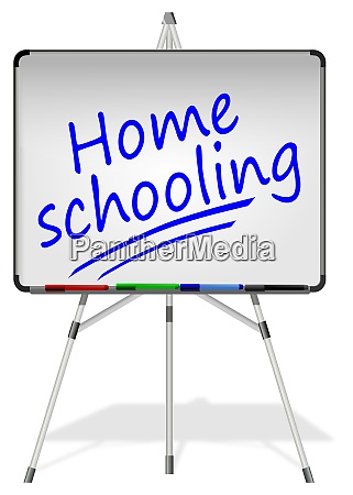 whiteboard with home schooling 3d