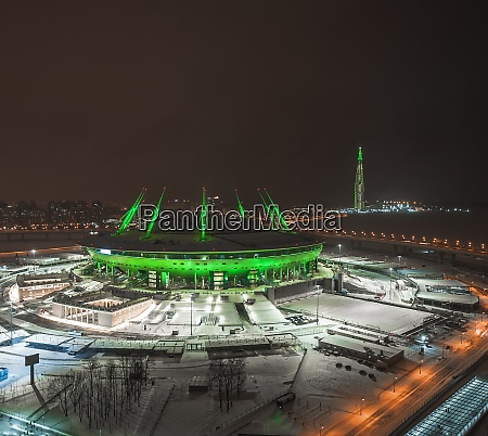 roof of the stadium at night