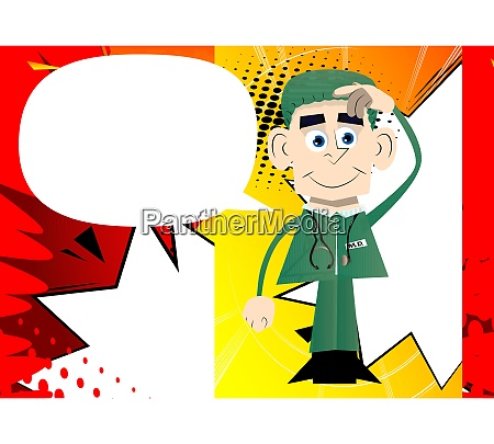 funny cartoon doctor confused vector illustration