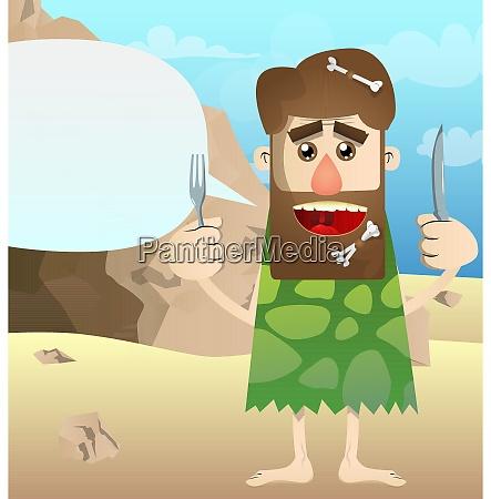 cartoon prehistoric man holding up a