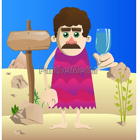 cartoon caveman with a glass of