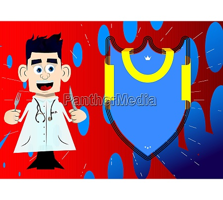 funny cartoon doctor holding up a