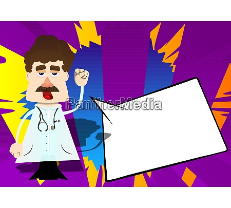 funny cartoon doctor making power to