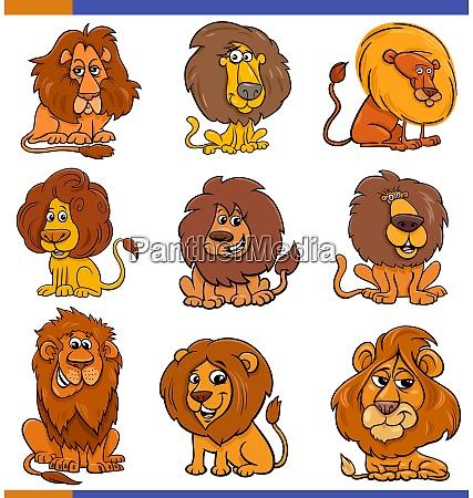 cartoon lions comic animal characters set