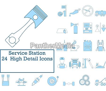 service station icon set