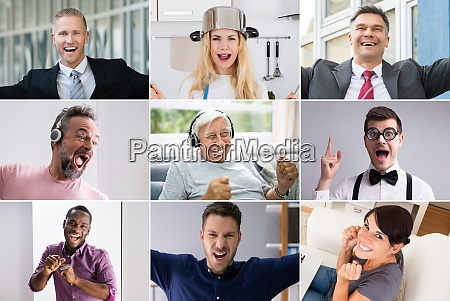 various diverse funny people portrait collage