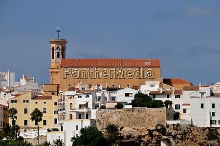 skyline of mahon on menorca
