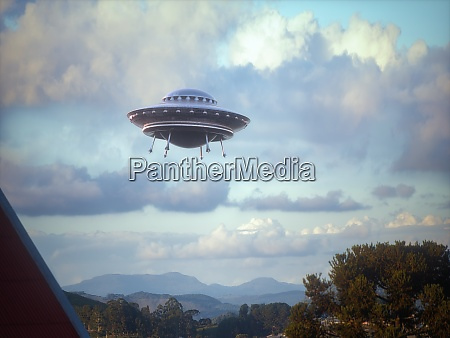 unidentified flying object over the city