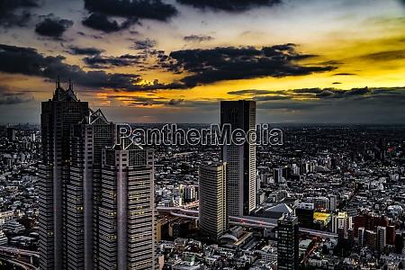 shinjuku of city landscape and sunset