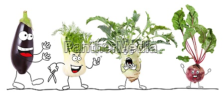 different biologic vegetable isolated comic