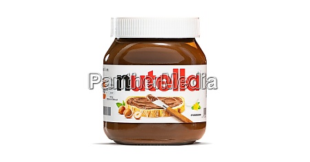 glass of nutella isolated on white