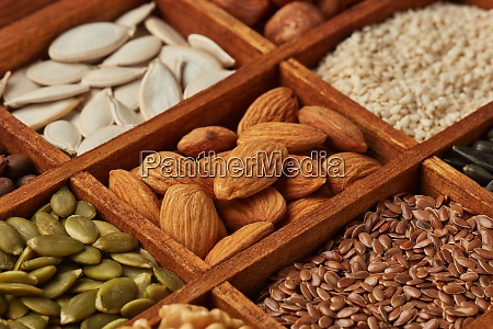 different kinds of nuts and dried