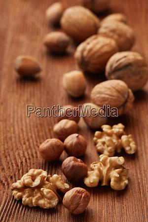walnuts and hazelnuts still life from