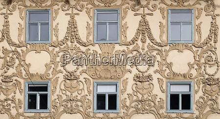 stucco facade of luegghaus luegg house