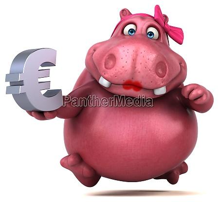 pink hippo 3d illustration