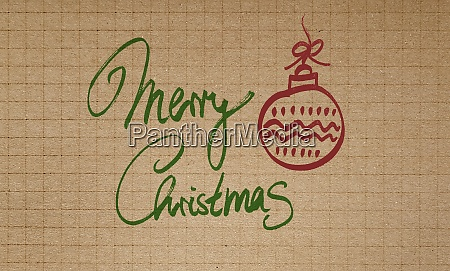 merry christmas on checkered recycled paper