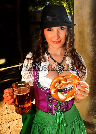 beauty girl in a dirndl with