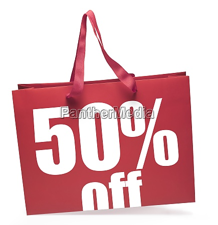 red color shopping bag 50 discount