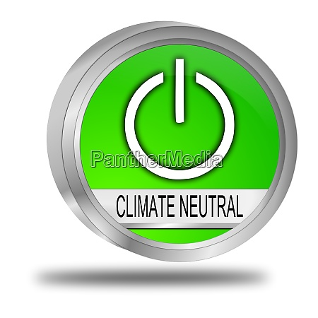 climate neutral button green 3d