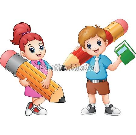 cartoon childrens holding a pencil