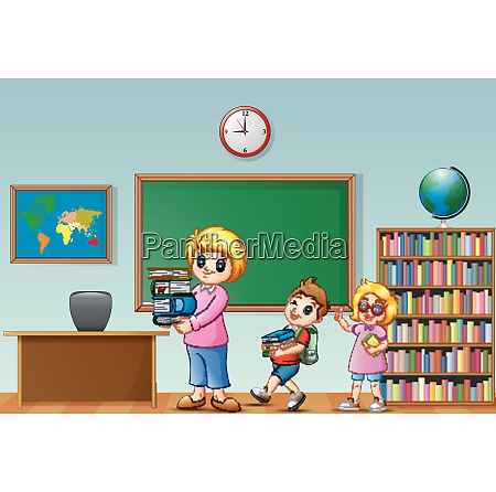 cartoon female with school kids in