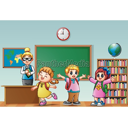 female teacher with students in a