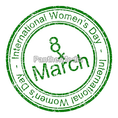 international womens day rubber stamp green
