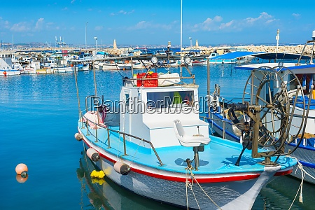 motorboats boats marina pier cyprus