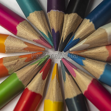 colored pencils in close up with