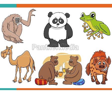 cartoon funny animal comic characters set