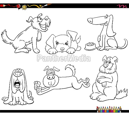 cartoon dogs animal characters set coloring