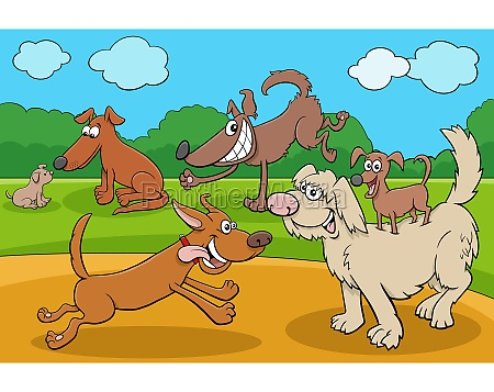 cartoon playful dogs and puppies funny