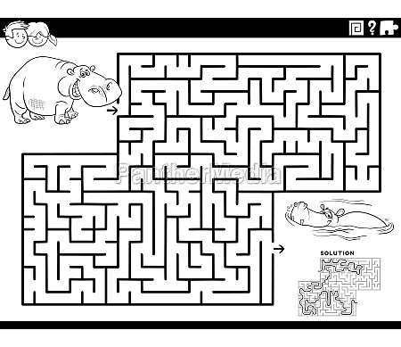 maze game with funny hippos coloring