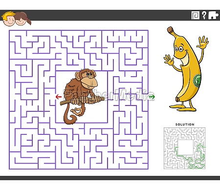 maze educational game with funny monkey