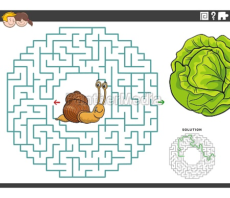 maze educational game with funny snail
