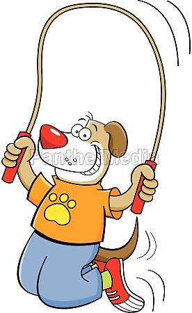 cartoon illustration of a dog jumping