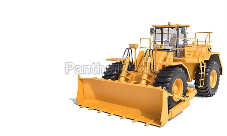 big bulldozer on a white background