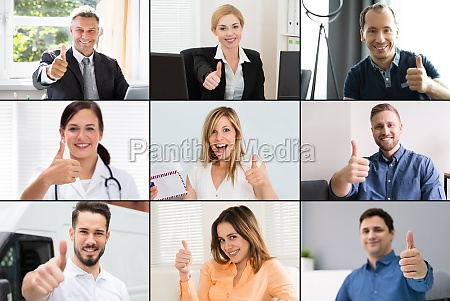 video conferencing thumbs up faces collage