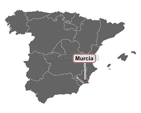 landkarte von spanien mit ortsschild murcia