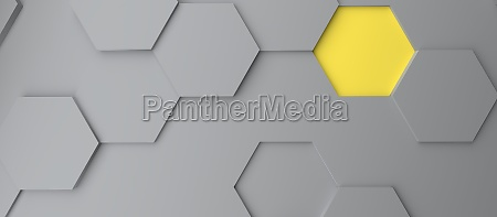 abstract modern grey and yellow honeycomb