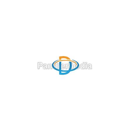 d letter circle logo concept letter