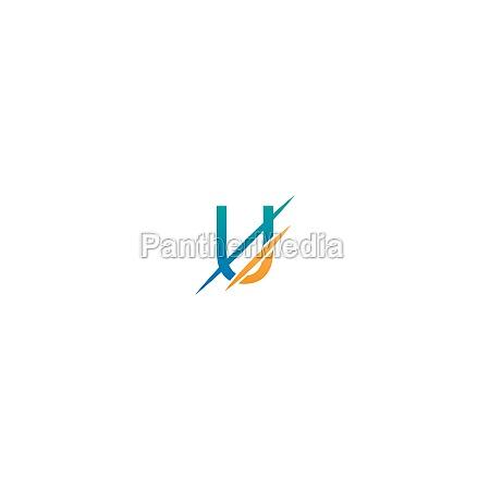 u letter slash logo concept letter