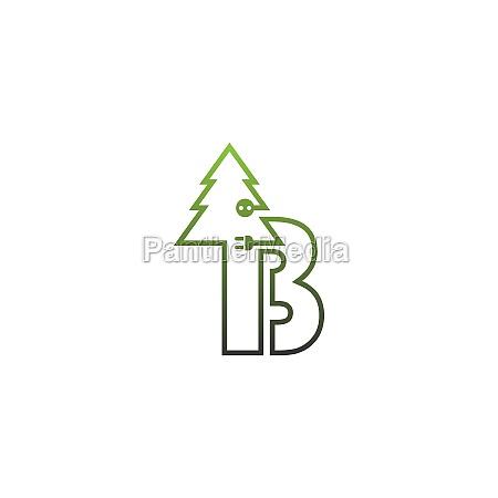b letter tree logo concept letter