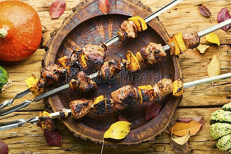 kebabs with meat and pumpkin